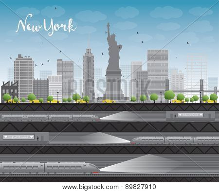 New York city skyline with blue sky, clouds, yellow taxi and train