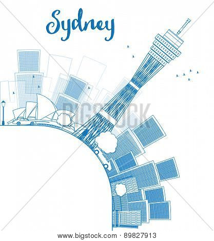 Outline Sydney City skyline with skyscrapers and copy space