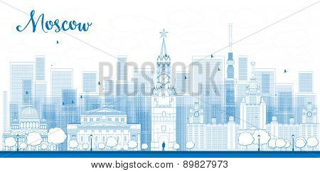 Outline Moscow City Skyscrapers and famous buildings in blue color