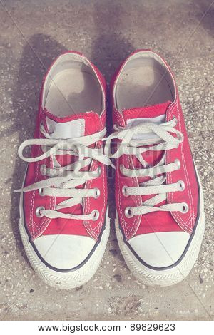 Retro Red Sneakers. Vintage Style Image