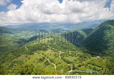Mountain landscape. View from Anakopia fortress. Abkhazia