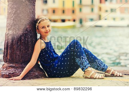 Portrait of lovely fashion girl in Portofino, Italy