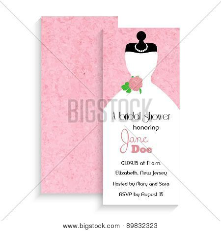 Bridal Shower Invitation Card. Vector Illustration On Pink Watercolor Background