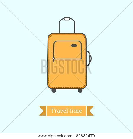 Flat Line Icon Of  Tourist Luggage, Suit Case. Infographic Icon, Abstract Design Pictogram.