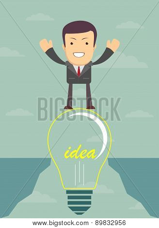 Businessman on a bulb cross an abyss. Vector