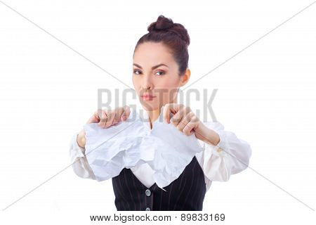 Breaking contract. Furious young woman tearing up paper