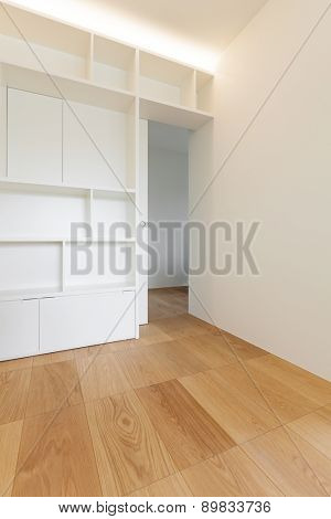 Architecture, empty room of a new apartment, white bookcase