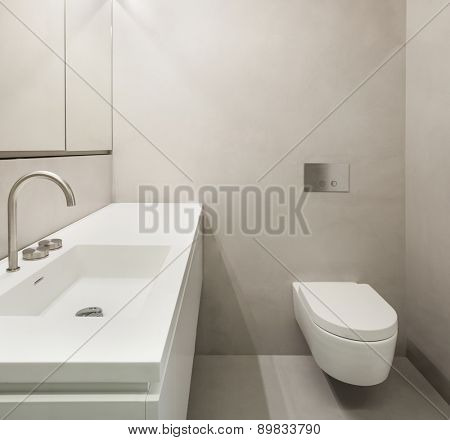 Architecture, empty bathroom in cement of new apartment