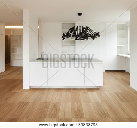 Architecture, white domestic kitchen of a new apartment