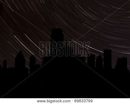 Dallas skyline silhouette with star trails illustration