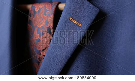 Close-up Of Suit Jacket Lapel Button Hole Fabric