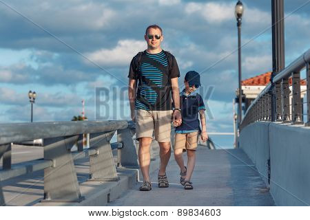 Young father and son on Fort Lauderdale Bridge