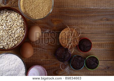 Ingredients And Baked Sweeties