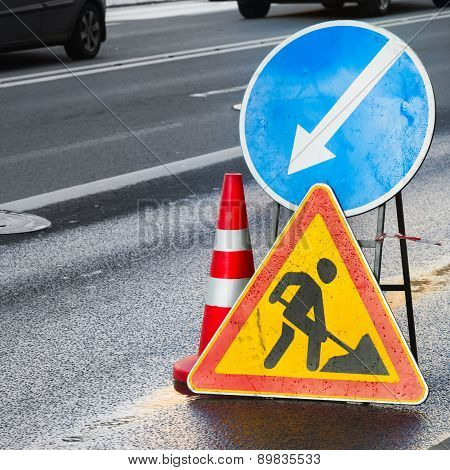 Roadsigns. Men At Work, Road Under Construction