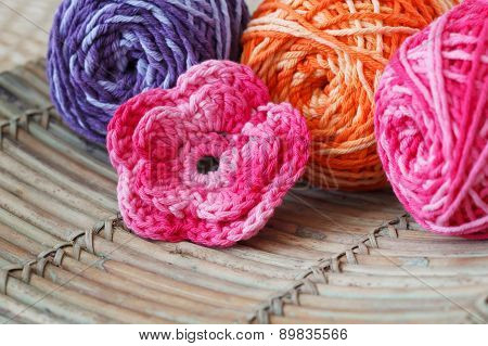 Handmade Pink Crochet Flower With Colorful Skein