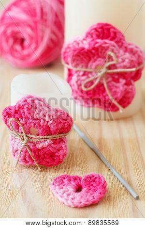 Handmade Crochet Pink Flower On Candle