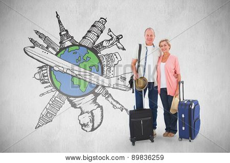 Smiling older couple going on their holidays against white background