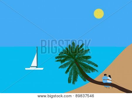 Couple Sitting On A Coconut Palm Tree