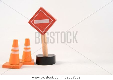 Toy sign and cones