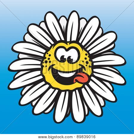 Funny chamomile flower, positive emotions concept. Vector illustration. Vector format EPS 8, CMYK.