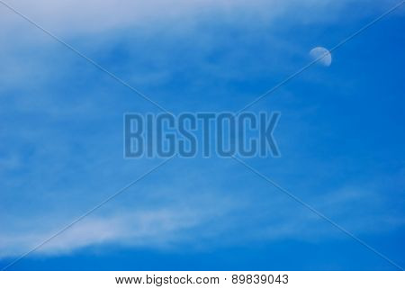 beautiful sky background with clouds and the moon