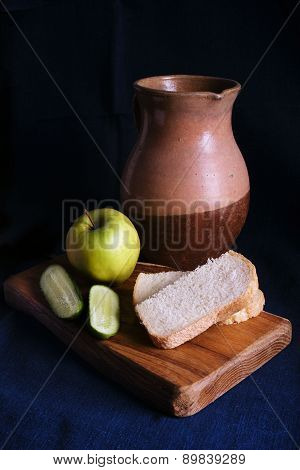Still Life with old Jug and apple