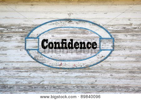Confidence road sign message on shed