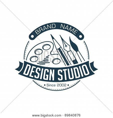 Abstract Stylish Round Design Studio Illustration With Brush, Pen, Pencil And Palette For Logo Or Ot