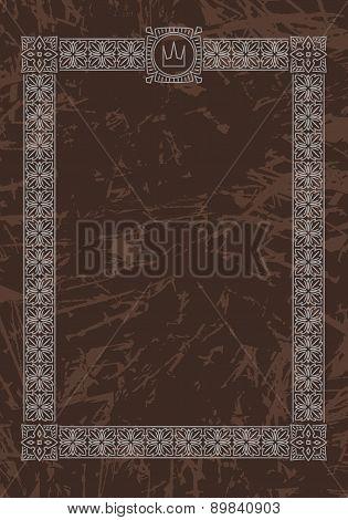 Luxury, Ornate, Vintage Frame With Crown On Aged Dark Brown Background. Vector Illustration.