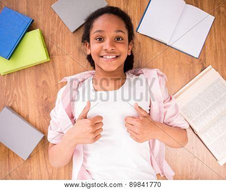 Schoolgirl Making Thumbs Up