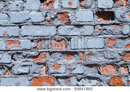 Blue painted brick wall