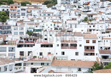 Busy, Compact Town Or Pueblo Of Mijas In Spain