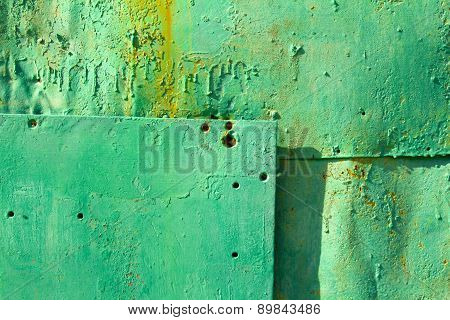 Old Metal Surface Colored In Green, Background.