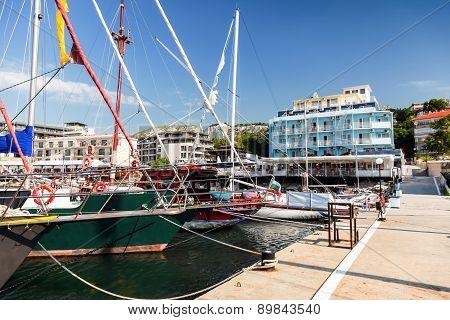 Sailing Yachts And Pleasure Boats Moored In Balchik
