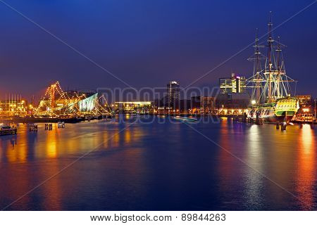 The harbor from Amsterdam in the Netherlands by night at christmas