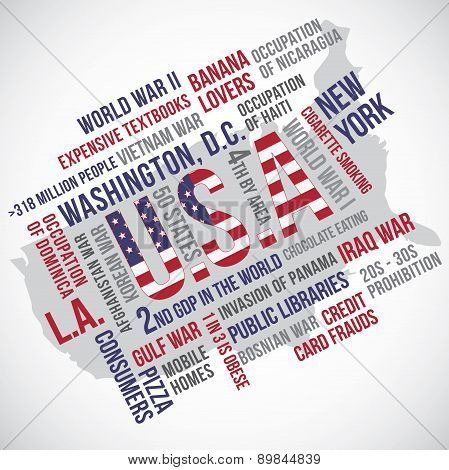 United States Of America Flag Word Vector