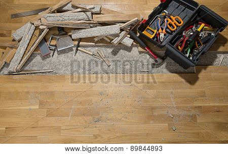 Damaged wooden floor with space for your text.