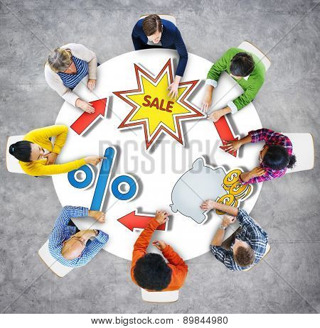 Sale Discount Brainstorming Business Discussion Thinking Strategy Concept