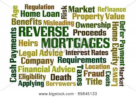 Reverse Mortgages word cloud on white background