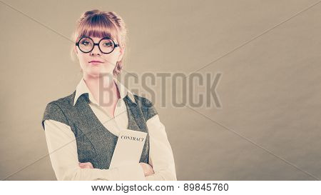 Business Woman Holding Contract In Hand