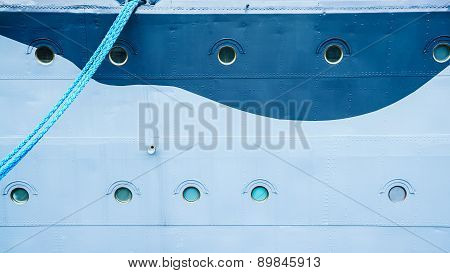 Closeup Of Ship With Hanging Mooring Rope