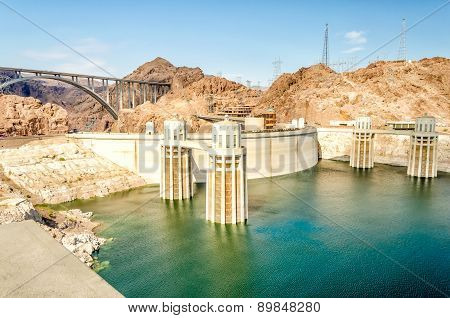 Hoover Dam And Colorado River At The Border Between Nevada And Arizona