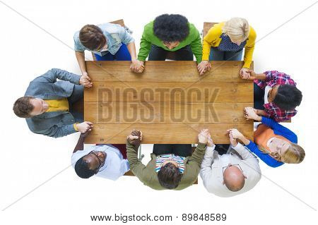 Aerial View People Togetherness Holding Hands Conference Table