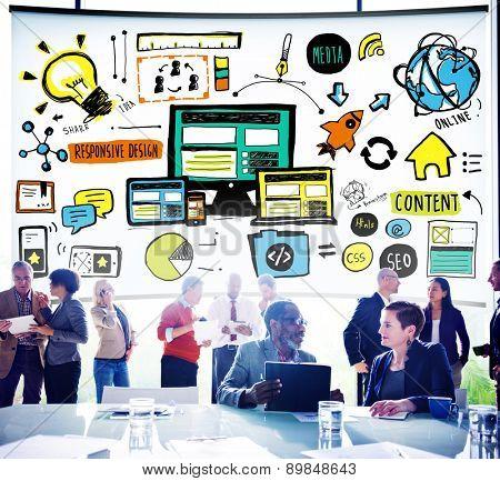 Responsive Design Responsive Quality Content Share Online Concept