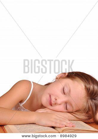 Girl Asleep On The Book