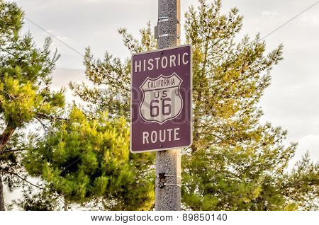 Historic Route 66 Sign In California