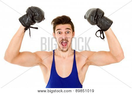 Man with black boxing gloves isolated on white background.
