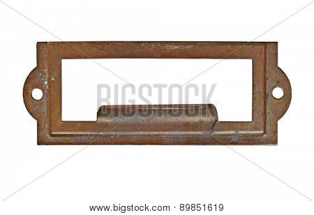 vintage heavy patina brass label name pull plate, clipping path, space for your text