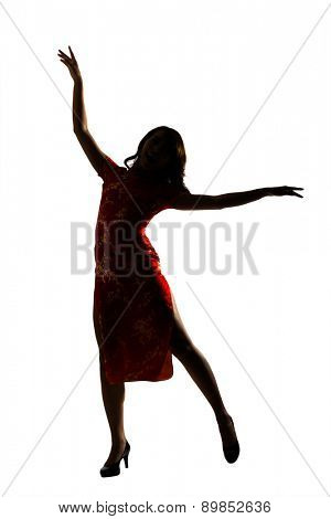 Silhouette of Chinese woman dress traditional cheongsam at New Year.