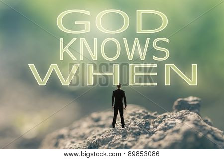 Concept of  with a person stand in the outdoor and looking up the text over the sky in nature background.
